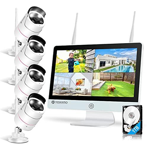 Yeskamo - Cámara de vigilancia (Wi-Fi, 4 x 3 MP, IP, monitor IPS de 8 canales, 12 pulgadas, HDD de 1 TB, con detección AI, grabación de vídeo, para el hogar, la tienda y el jardín)