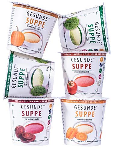 Gesunde Suppe von MESAVERDE 5+1 Multipack (2x Brokkoli, 1x Karotte, 1x Kürbis, 1x Rote Beete, 1x Tomate) Laktosefrei und Glutenfrei und ohne chemische Zusatzstoffe, geeignet für Veganer 12.1g x 6