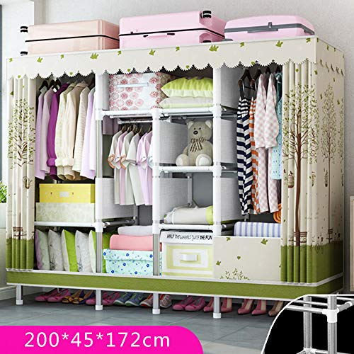 Great Deal! Wardrobe Simple, Portable Vertical, Home Bedroom Cloth, Fully Enclosed with Zipper, Suit...