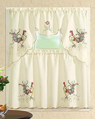 All American Collection Modern Contemporary 3pc Embroidered Home Kitchen Window Treatment Curtain Set (Swag Valance, Colored Rooster)