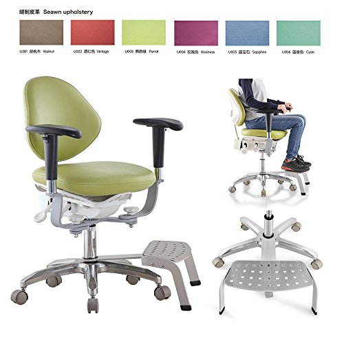 East- PU Leather Dental Chair for Dentist Dynamic Design Meidcal Microscope Seat Dentist Chair with Foot Base MDS-PB with Foot Base+Armrest