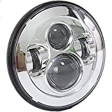 WILDKEN Moto LED Rotondo 7' 40 W Illuminazione lampadina LED Lampada frontale Lampada in alluminio per Harley Davidson Moto Wrangler Silver