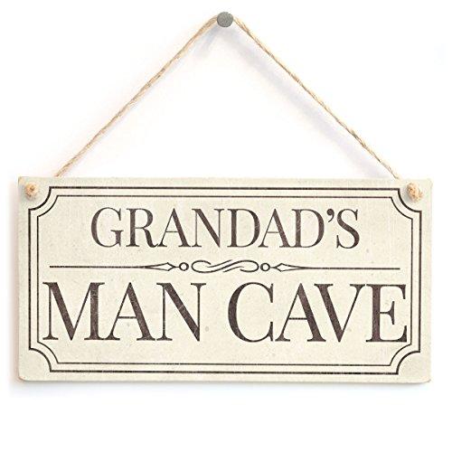Grandad's Man Cave - Fun Traditional Design Style Handmade Sign for Grandad's Boys Room