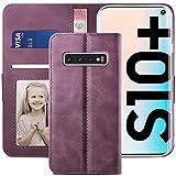 YATWIN Handyhülle Samsung Galaxy S10 Plus Hülle, Klapphülle Samsung S10 Plus Premium Leder Brieftasche Schutzhülle [Kartenfach] [Magnet] [Stand] Handytasche Hülle für Samsung S10 + Plus, Weinrot