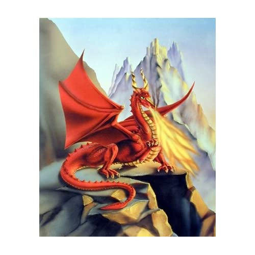 Red Fire Dragon Sue Dawe Fantasy Mythical Two Set 8x10 Wall Decor Print Pictures