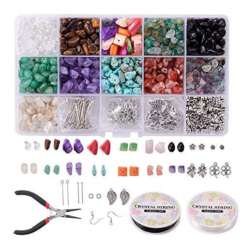 Cuentas de piedras preciosas naturales, cuentas de piedra irregulares, kit de gancho para la oreja para hacer joyas, collares, pulseras, pendientes, manualidades (con alicates)