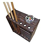XZYY Ball Cue Stand -Pool Cue Rack Floor -Snooker Stick Rack -Pole Stand Rack,with 6 Clips,Billiard Players Wooden Pool Snooker Pool Cue Holder(High Density Board)
