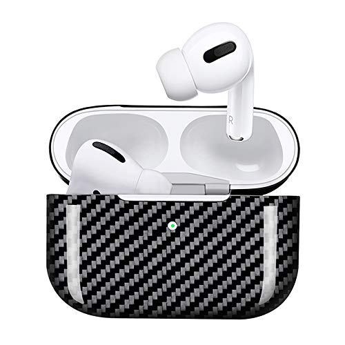 Glossy Black Genuine Carbon Fiber Protective Cover for Apple AirPods Pro Case Black,Front Led Visible,Ultra Slim Shockproof Skin Compatible with Apple AirPods Pro 2019