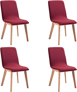 vidaXL 4x Dining Chairs Fabric Wood Legs Kitchen Dining Room Chair Modern Bistro Café Cushioned Side Seat Home Living Room Fu