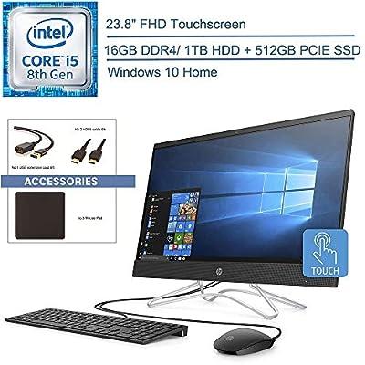 "2020 HP 24 All In One 23.8"" FHD Touchscreen AIO Desktop Computer, 8th Gen Intel Hexa-Core i5-8400T up to 3.3GHz, 16GB DDR4 RAM, 1TB HDD + 512GB PCIE SSD, DVDRW, AC WiFi, Windows 10, YZAKKA Accessories"