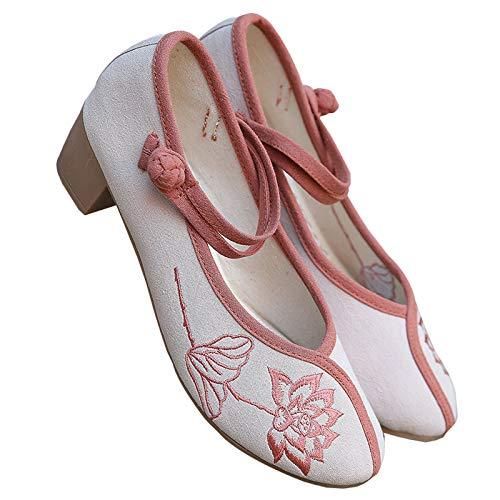 ZCRFYY Neue bestickte Schuhe, originales Retro-Hufeisen und Hanfu Zen-Kleidung mit Alten Pekinger Stoffschuhen,Beige,36
