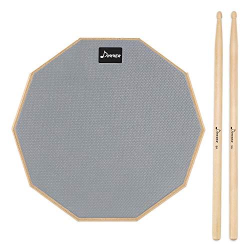 Donner Practice Pad Drum Übungspad 8 Zoll/20.32cm mit Drumsticks, Grau