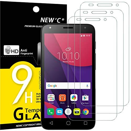 NEW'C 3 Stück, Schutzfolie Panzerglas für Alcatel One Touch Pixi 4 (5.0), Frei von Kratzern, 9H Festigkeit, HD Bildschirmschutzfolie, 0.33mm Ultra-klar, Ultrawiderstandsfähig