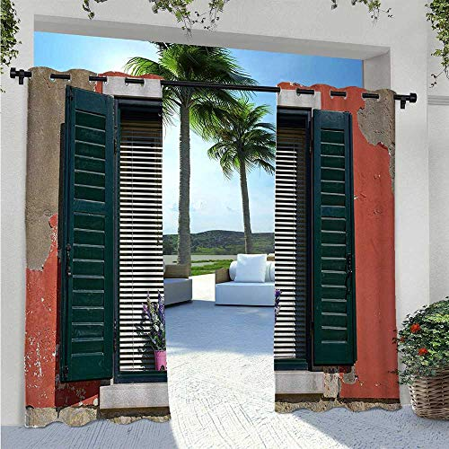 Patio Curtain Old Italian Stone House with Medieval Style Shutters and Colorful Flowers Image Fashion Design Outdoor Curtain Drape Add A Soft Touch to Your Patio Red Green Grey W72 x L96 Inch