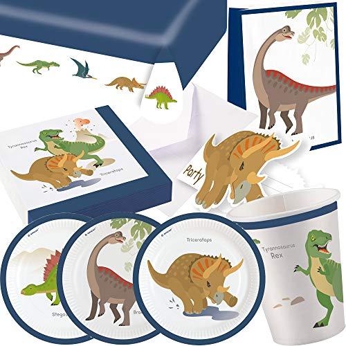 101-teiliges PARTY SET * FRÖHLICHE DINOS * für Kindergeburtstag mit 8 Kinder: Teller, Becher, Servietten, Einladungen, Tischdecke, Partytüten, Luftschlangen, Luftballons | Dino Dinosaurier T-Rex