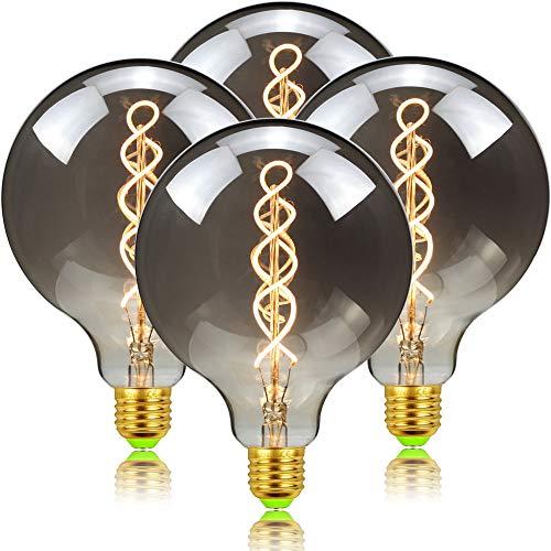 E27 Vintage Edison Bombillas, LED Bombilla Regulable G125 Filamento Espiral Retro Humo...