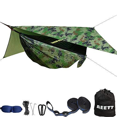 AEETT Camping Hammock with Mosquito Net and Rain Fly - Double Hammock Bug Net - Tree Hammock Tent for Outdoor Hiking Campin Backpacking Travel (Camouflage, X-Large)