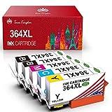 Toner Kingdom Cartuchos de tinta compatibles para HP 364XL para HP PhotoSmart 5510 5515 5524 5525 6510 6520 7510 7520 B8550 HP OfficeJet 4620 HP Deskjet 3070A (2Negro 1Cian 1Amarillo 1Magenta)