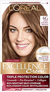 L'Oreal Paris Excellence Creme Triple Protection Hair Color -Light Golden Brown [6G] Pack of 4