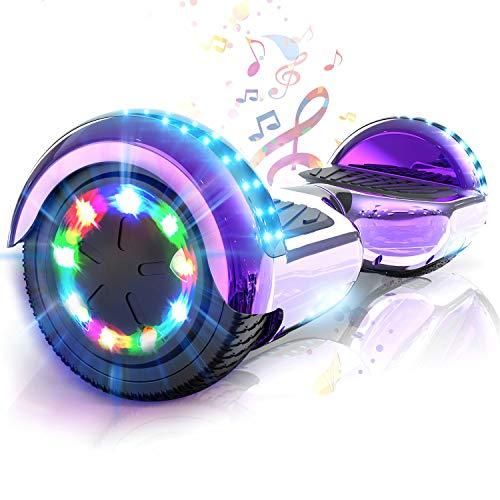 COLORWAY Hoverboard Patinete Eléctrico Auto Equilibrio Hover Scooter Board 6.5 Pulgadas con Fuerte Dual Motor y LED E-Skateboard … (Violeta) ⭐
