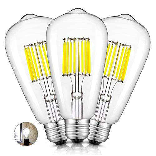 CRLight 5000K LED Edison Bulb 10W Daylight White 1000LM, 100W Incandescent Equivalent, Replace 20W Compact Fluorescent CFL Bulbs, E26 Medium Base ST64 Vintage LED Filament Bulbs, Non-dimmable, 3 Pack
