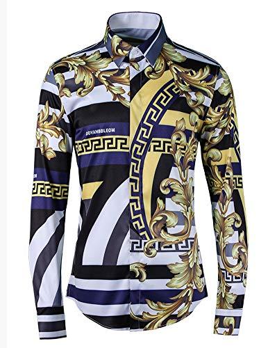 Herren Langarm-Shirt, modisch, schlank, atmungsaktiv, gestreift, königliches Blumenmuster, 123, weiß, XL/42