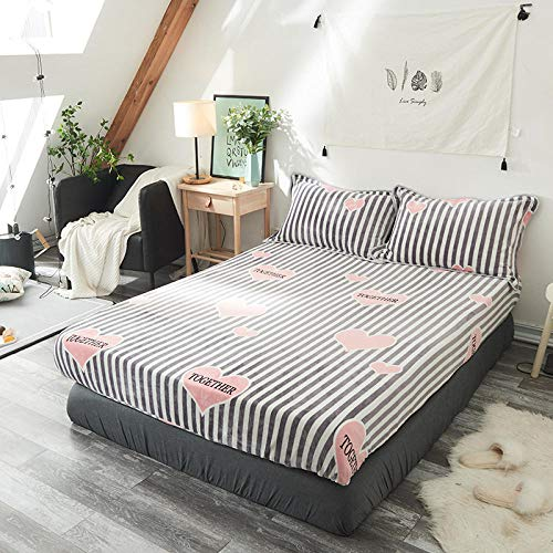 Claean-Acces-Home Bed Sheet Fitted Sheets Mattress New Flanged Bed With One-Piece Cartoon Magic Velvet Bedding Coral Velvet Bedding.-Love Diary_1.5M Bed Sheet 150 * 200Cm
