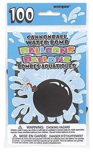 Unique Party - 5227 - Paquet de 100 Ballons Bombe à Eau - Latex - Forme de Boulet de Canon