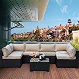 7 Piece Outdoor PE Wicker Furniture Set, Patio Black Rattan Sectional Sofa Couch with Washable Khaki Cushions