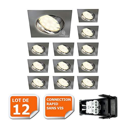 LOT DE 12 SPOT ENCASTRABLE ORIENTABLE LED CARRE ALU BROSSE GU10 230V eq. 50W BLANC CHAUD