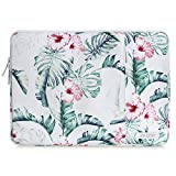 MOSISO Laptop Sleeve Compatible with 13-13.3 inch MacBook Pro, MacBook Air, Notebook Computer, Polyester Vertical Pattern Bag with Pocket, Banana Leaf