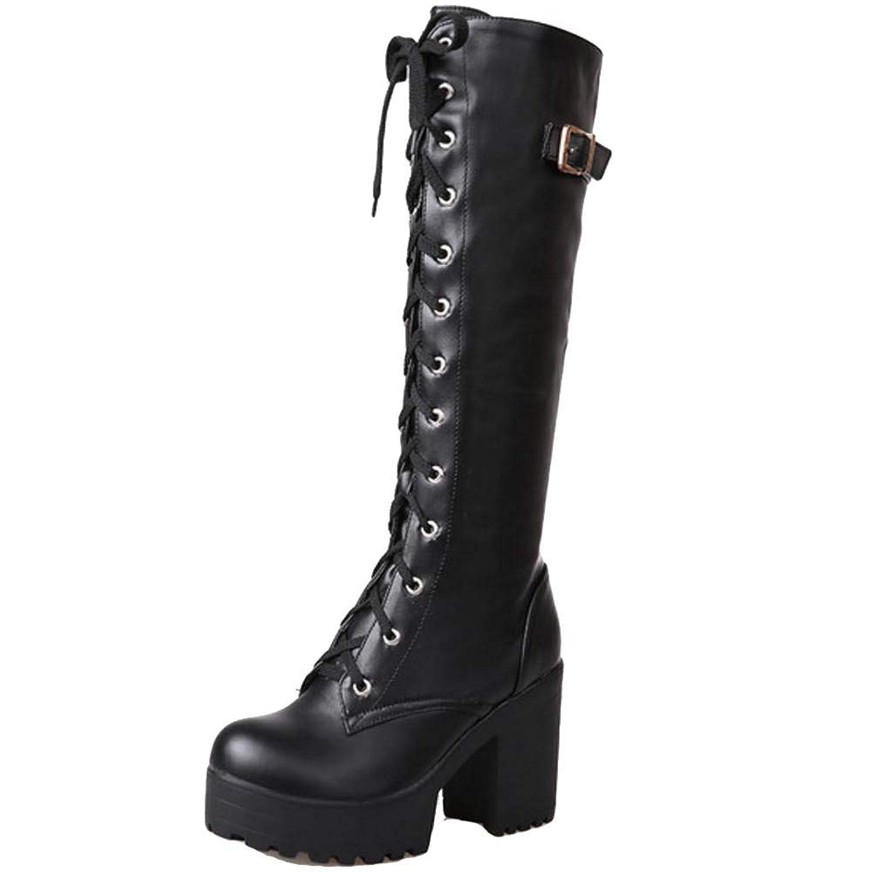 [Unm] レディーズ ファッション プラットフォームブロックかかと ニーハイ ブーツ