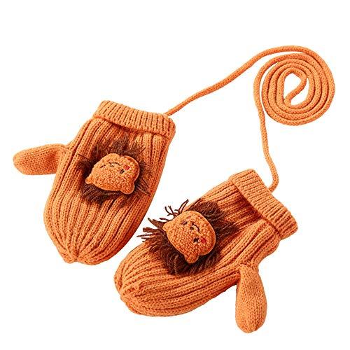 Axdwfd Gants Enfants Woollen garçons et Filles Hiver Chaud épais Cartoon Gants en Tricot for bébé Mignon Longe Anti-Perte Cartoon (Color : Ginger, 年龄 Age : Three to Six)