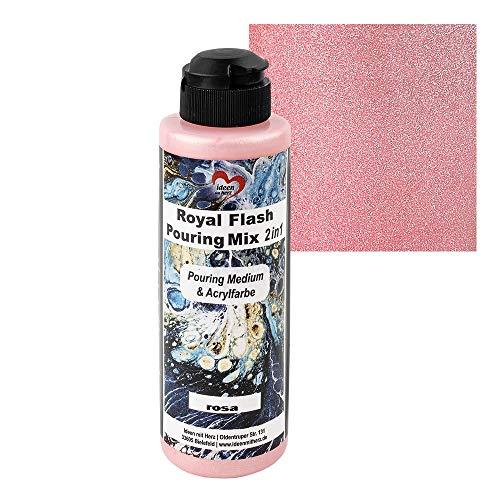 Ideen mit Herz Royal Flash Pouring Mix 2 en 1 | Pouring Medium & Metallic - Pintura acrílica con efecto purpurina | 180 ml | No es necesario mezclar con fluido, medio o aceite de silicona (rosa)