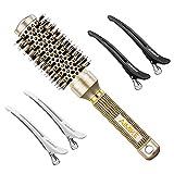 Cepillo redondo AIMIKE, cepillo para el cabello en cerámica nano térmica y tecnología iónica, cepillo redondo pequeño con cerdas de jabalí para cepillar, peinar, rizar (2.4 '', barril 1.3 '')
