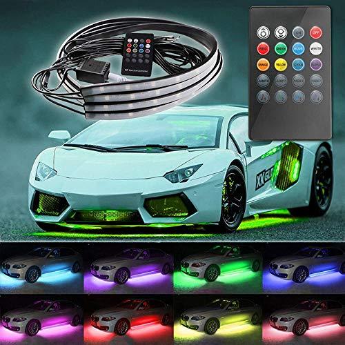 4x 8 Farben LED Tube Under Car Tube Unterbodenschutz DC12V Neon Light Kit