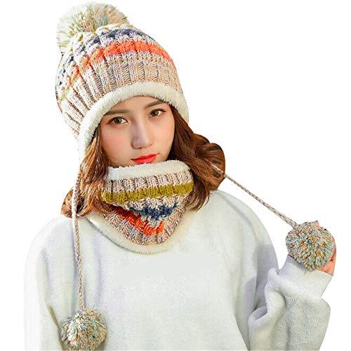 GreatestPAK Loop Schal Damen Schal Dicker Plüsch Strickmütze mit Haarballen Warm Gehörschutz,Beige