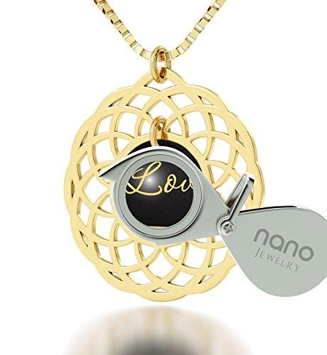 Nano Jewelry Collar con Mandala chapada en Oro de 24 Quilates con circonitas cúbicas, Cadena chapada en Oro de 18 Pulgadas