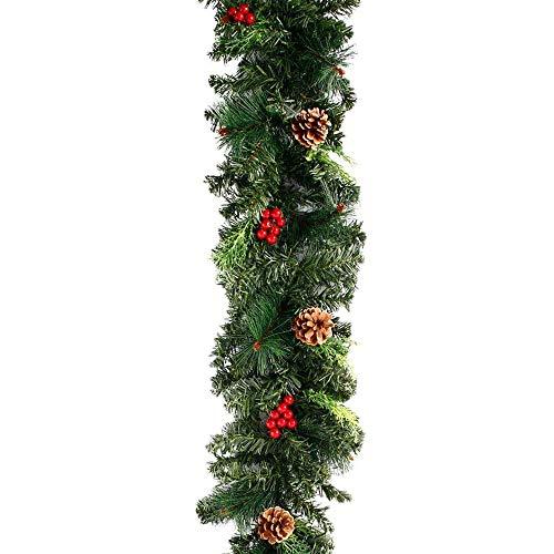 Dandelionsky - Guirnalda de Navidad de 1,8m con luces, diseño realista festivo con bayas y piñas, ideal para chimeneas y puertas