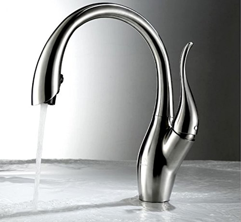 YFF@ILU Nickel gebürstet Kitchen Sink Faucet ziehen Sie die Spritze aus Edelstahl Mixer
