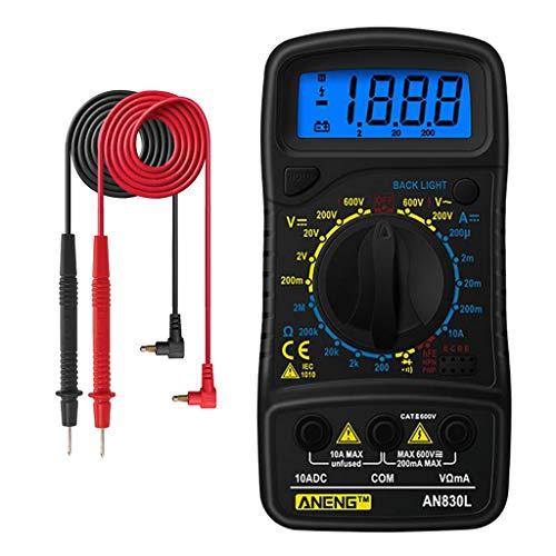 Milageto DC AC電圧計デジタルマルチメーター、オームテストメーター - 黒