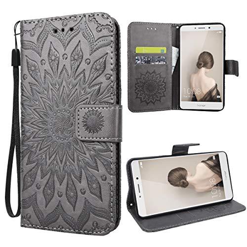 VemMore für Huawei Honor 6X Hülle Handyhülle Schutzhülle Leder PU Wallet Flip Hülle Bumper Lederhülle Ledertasche Blumen Muster Klapphülle Klappbar Magnetisch Dünn Silikon Sonnenblume - Grau