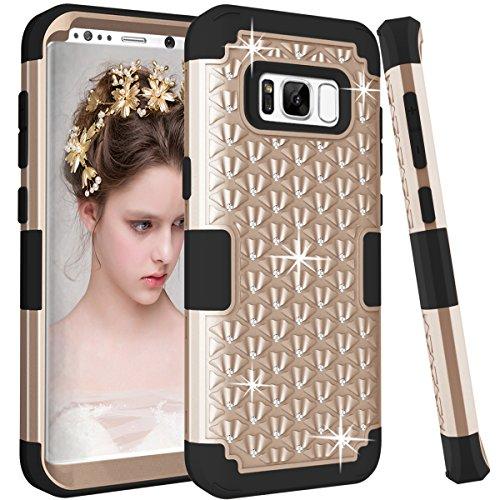 Artfeel Bling Briller Coque pour Samsung Galaxy S8 Plus, Mode 3 en 1 Hybride Plastique Dur + Silicone Souple avec Cristal Strass Diamant Étui Anti-Rayures Antichoc Armure Housse,Or + Noir