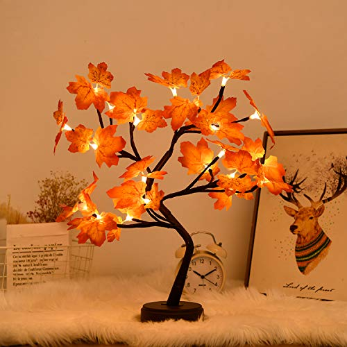 FLDFR Artificial Tree Lamp- Maple Bonsai Tree Light , Fairy Spirit Light TreeOperated by Battery or USB , Indoor Decoration/ Holiday Party/Children Gift and Daily