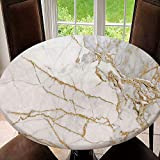 SUPNON Elastic Edged Round Tablecloth Black and Gold Marble Texture Design for Cover Book Or Brochure Polyester Washable Table Cover Kitchen Restaurant Party Decoration SW102198 47