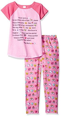 The Children's Place Conjunto de Pijama y Playera de Manga Corta para niña, Emoji (Sparkle Pink) 76441,…