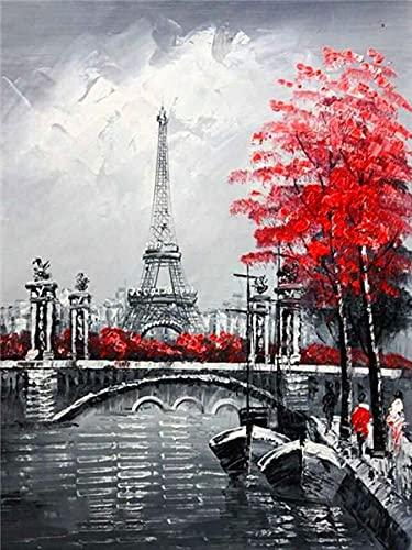 5d pintura de diamantes taladro completo redondo negro rojo Torre Eiffel diamantes de imitación bordado de diamantes Kit de artesanía de paisaje A6 40x50cm