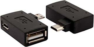 AuviPal 2-in-1 Powered Micro USB OTG Adapter 90 Degree (Left+Right) Angled with Micro USB Power Charging Port - 2 Type