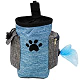 Dog Treat Pouch, Dog Treat Bag for Training Small to Large Dogs, Easily Carries Pet Toys, Kibble, Treats, Built-in Poop Bag Dispenser - Blue