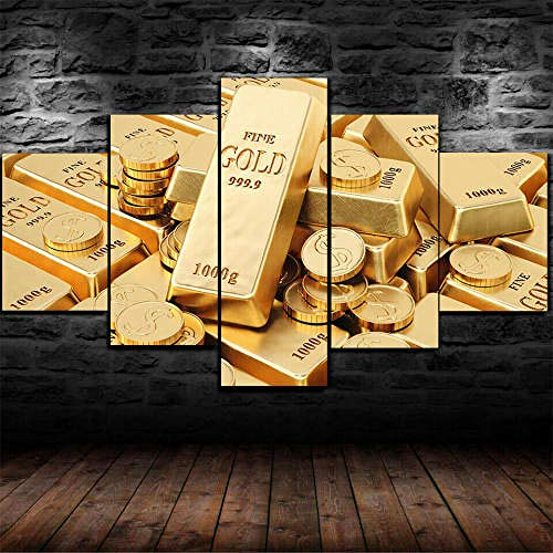 IMXBTQA 5 Piece Wall Art Picture,Prints On Canvas 5 Panel Creative Gift Coin Gold Bars Money Dollars Painting For Home Modern Decor Print Decor Living Room Wall Decor 150X100Cm